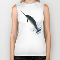 biology Biker Tanks featuring Jackson the Narwhal by Amber Marine