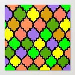 MOROCCAN PATTERN Green Yellow Orange Canvas Print
