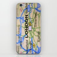 london map iPhone & iPod Skins featuring London Map by Brian Raggatt