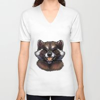 rocket raccoon V-neck T-shirts featuring Rocket by Fhari