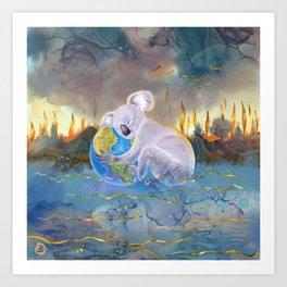 Koala Loves Earth - Australian Surreal Climate Change  Art Print