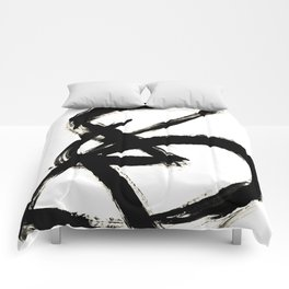 Brushstroke 3 - a simple black and white ink design Comforters