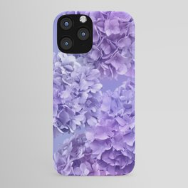 Painterly purple blue hydrangea flowers iPhone Case