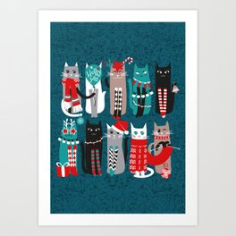 Feline Christmas vibes // dark teal background grey mint white brown and black kittens Art Print