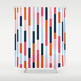 Large stripes blue, pink, orange Shower Curtain