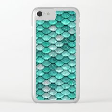 Aqua & mint mermaid glitter scales - Luxury Mermaid Scales Clear iPhone Case