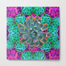 COLORFUL GREY, GREEN PINK GARDEN SUCCULENTS Metal Print