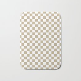 Small Checkered - White and Khaki Brown Bath Mat