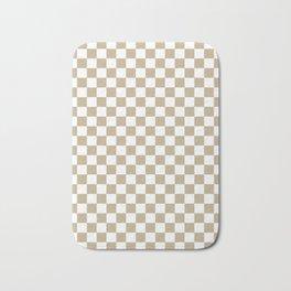 Small Checkered - White and Khaki Brown Bath Mat