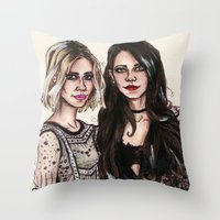 sarah paulson Throw Pillows featuring Sarah x Lana by vooce & kat