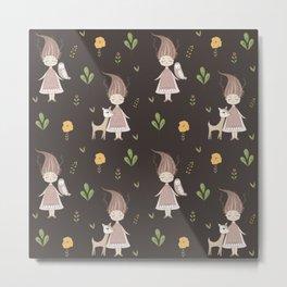 Woodland Nymph - Brown Metal Print