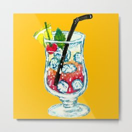 Watercolor Summer Cocktail Metal Print