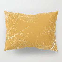 Branches Impressions on Yellow Pillow Sham