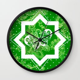 Butterfly on Green Paisley Wall Clock