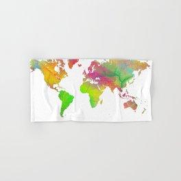 World Map - Watercolor 10 Hand & Bath Towel