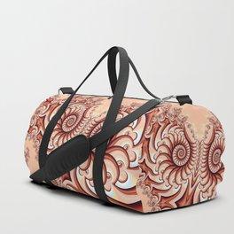 Owl Fractal Peach Duffle Bag