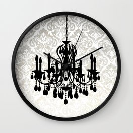 Chandelier Silhouette Metallic Damask Backdrop Wall Clock