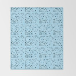 Hand Painted Ink Adorable Hedgehogs Throw Blanket