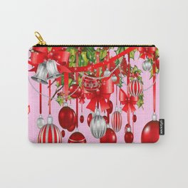 RED HOLIDAY ORNAMENTS FLORAL ART Carry-All Pouch