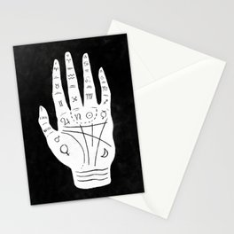 Palm Reading Chart - White on Black Stationery Cards