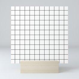Grid Simple Line White Minimalist Mini Art Print
