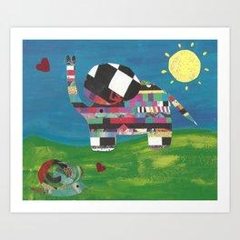 Friends with Elephants Art Print