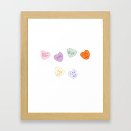 Sketch Candy Hearts Framed Art Print