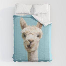 Cute white alpaca portrait on blue sky background Comforters