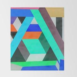 Teal Geometric Artwork - Abstract Pattern Throw Blanket