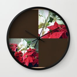 Mixed color Poinsettias 3 Blank Q3F0 Wall Clock