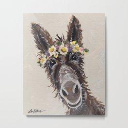 Flower Crown Donkey Art, Neutral Donkey Art, Cute Donkey Art Metal Print