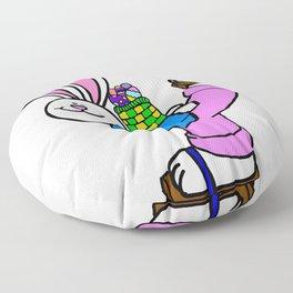 Roller Skating Easter Bunny Floor Pillow