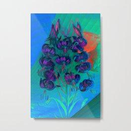 Floreal - Tropical Floral Surrealism Mint Purple Blue Metal Print