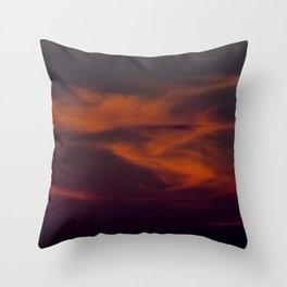 storm annoucement at sunset Throw Pillow