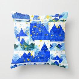 Blue Mountain Vintage Abstract Splash Throw Pillow