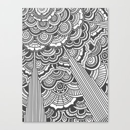 Grey floral mandala design - hydrangeas Canvas Print