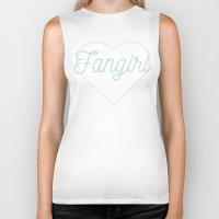 fangirl Biker Tanks featuring Fangirl by mimeowmia