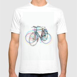 Artistic modern pink teal abstract bicycles art T-shirt