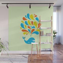 Colorful Swirls Happy Cartoon Whale Wall Mural
