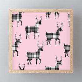 Plaid Bucks on Pink | Black and White Tartan  Deer | Renee Davis Framed Mini Art Print