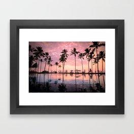 Pastel Sunset Palms Framed Art Print