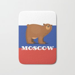 Moscow Bear and flag travel poster. Bath Mat