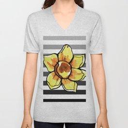 Daffodil Striped Print Unisex V-Neck