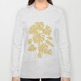 Delicate Monstera Golden #society6 Long Sleeve T-shirt