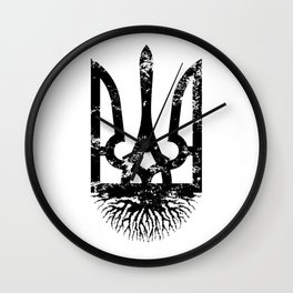 Ukrainian Roots Vintage Tryzub - Distressed Coat of Arms Ukraine Wall Clock