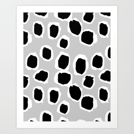 Tess - black and white grey minimal modern abstract dots painting brushstrokes free spirit ink  Art Print