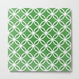 Cercle Lattice White on Green Metal Print