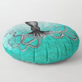 Antique Nautical Steampunk Octopus Vintage Kraken sea monster ombre turquoise blue pastel watercolor Floor Pillow