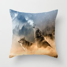 Fantasy Wolf Wolves Animal Throw Pillow