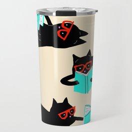Book bag black cat reads stories Travel Mug